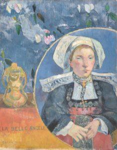 En 1889, Gauguin achève le portrait d'Angèle Satre, hôtelière à Pont-Aven, qui était considérée comme l'une des plus belles femmes de la région. Gauguin trouvait ce portrait très réussi, mais Angèle, en découvrant l'œuvre s'est exclamé « Quelle horreur ! »